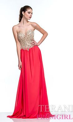 Strapless Floor Length Prom Dress by Terani at PromGirl.com