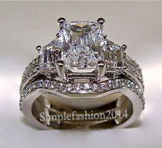 Vintage Jewelry Diamonique Cz White Gold Filled 3-in-1 Wedding Ring set Sz 5-11 #simplefashion2014 #Solitaire
