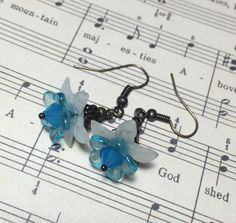 Blue flower earrings beaded crystal dangle lucite by CrushedCameo