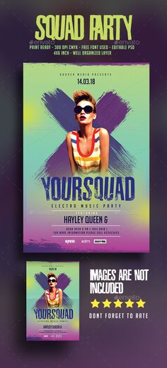 Squad Party Music Flyer — Photoshop PSD #night club #guest dj • Available here → https://graphicriver.net/item/squad-party-music-flyer/17961758?ref=pxcr