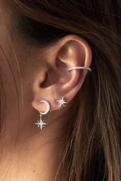 77 Ear piercing ideas for Women. Cute and Beautiful Ear piercing Ideas. Trending Ear Piercing ideas for women Ear rings are always hot! In other words, they can make you look totally different from the rest. Bar Stud Earrings, Moon Earrings, Crystal Earrings, Silver Earrings, Diamond Earrings, Earings Dangle, Silver Ring, Moon And Star Earrings, Jacket Earrings