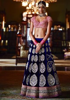 Sabyasachi Mukherjee Heritage Bridal Collection Dark Blue Embroidered Lehenga With Pink Embroidered Blouse. Indian Bridal Fashion, Indian Bridal Wear, Indian Wedding Outfits, Indian Outfits, Indian Clothes, Indian Weddings, Indian Attire, Indian Ethnic Wear, Saris