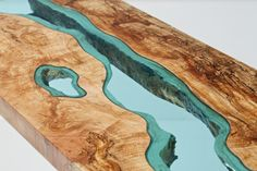Table Topography: Wood Furniture Embedded with Glass Rivers and Lakes by Greg Klassen Glass Dining Table, Dining Table Design, Wood Projects, Woodworking Projects, Wood Furniture, Furniture Design, Wood Slab, Wood Pieces, Wooden Tables