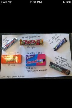 To one of my favourite Musketeer. I'm not playing any twix on you. So will you be a sweetart and go to homecoming with me. No many more cute ways to ask some to prom or homecoming! Asking To Homecoming, Cute Homecoming Proposals, Hoco Proposals, Homecoming Dresses, Sadies Dance, Prom Dance, High School Dance, School Dances, School Fun