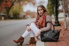 blanket scarf white jeans and booties