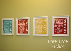 Bathroom Printables.. would love to put these in kids bathroom. Love the colors