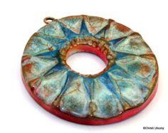 Polímero arcilla hecha a mano imitación cerámica colgante, Focal colgante, 38mm, un diseño elegante y boho hippie, años gastados rústico, componente de la joyería