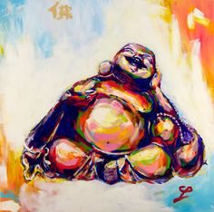 """Happy Buddha Acrylic Painting""""Sunrise Sunset Contentment"""" by the artist Mark φ Phi. Acrylic paint on 36x36 inch canvas 2014. See more paintings by Mark Phi Creations at http://markphicreations.com"""