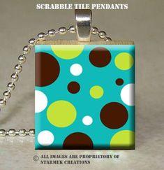 Scrabble Tile Necklace with decorative back