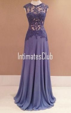 Light Purple A Line Scoop Neck Chiffon Tulle Sweep Train Appliques Lace Prom Dress