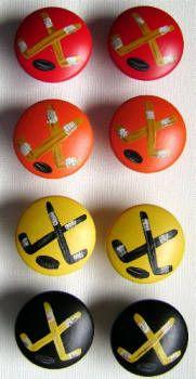 $6.00 per knob - Hockey Drawer Pulls - Hockey Theme Hand Painted Cabinet Knobs (Image #1) - Copyright © 2009 by Jane M. Loedding of Creative Name Signs Drawer Pulls And Knobs, Drawer Fronts, Painted Drawers, Dresser Drawers, Creative Names, Painting Cabinets, Cabinet Knobs, Diy Hacks, Hockey