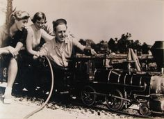 Walt and his daughters Diane and Sharon top off the Lilly Belle before a steam-up run in the early 1950s. Original image courtesy Walt Disney Co.