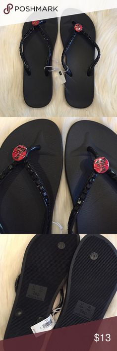 GAP TEXAS TECH BLACK FLIP FLOPS NWT New with tags.  great condition. perfect to wear to show your Texas tech support. Cute black beading along the straps of the sandals. GAP Shoes Sandals