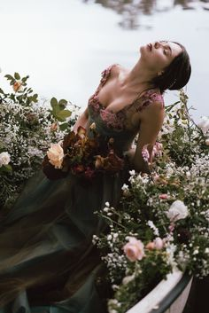 Pastoral Floral Ophelia Editorial with Romantic Silk Gowns - Misty blue grey floral romantic wedding dress by Joanne Fleming Design in a Lady of Shalott inspired shoot…rowing boat florals by Jo Flowers, image by David Wickham, HMUA Gemma Sutton