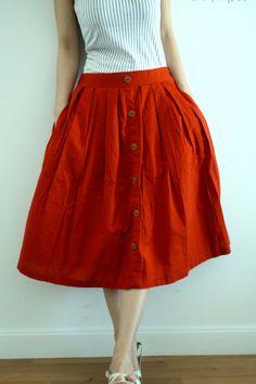 linen sixties skirt with hidden pockets
