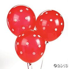 Red Polka Dot Latex Balloons - Oriental Trading