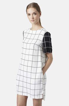 Topshop Grid Print Tunic Dress