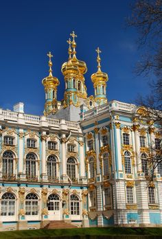 Catherine Palace in the Imperial estate of Tsarskoe Selo (now Pushkin) near St. Peteresburg. For Catherine the Great by Rastralli, Cameron & others