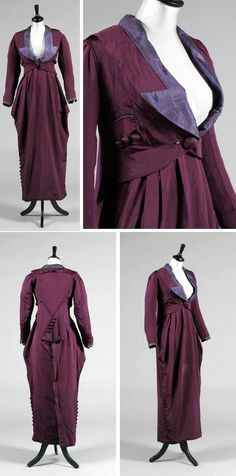 Walking suit, Drécoll, ca. 1911-14. Purple faille. Jacket faced in lilac silk, also with silver braid at cuffs. Weighted rectangular tail at the back with button detailing, faux buttoned pockets at sides. Barrel-shaped, ankle-length hobble skirt with broad petersham inner waistband. Kerry Taylor Auctions