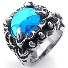 Konov Jewellery Mens Crystal Stainless Steel Ring, Vintage Gothic Dragon Claw, Color Black Silver Blue (with Gift Bag): Konov Jewellery: Amazon.co.uk: Jewellery
