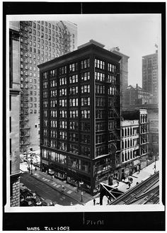 Holabird and Roche, Cable Building, Chicago, Illinois, 1899. Demolished 1960 photograph by Richard Nickel, Historic American Buildings Survey, 1960