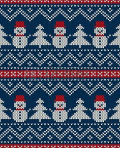 Winter Holiday Seamless Knitted Pattern With Snowman And Christmas. - Winter Holiday Seamless Knitted Pattern With Snowman And Christmas. Fair Isle Knitting Patterns, Knitting Charts, Knitting Stitches, Free Knitting, Christmas Border, Christmas Cross, Christmas Tree, Knitted Christmas Stockings, Christmas Knitting