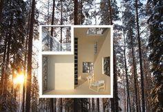 Mirror cube tree hotel by Tham & Videgård Arkitekter