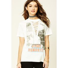 Forever21 Jimi Hendrix Graphic Lace-Up Tee (2.530 ISK) ❤ liked on Polyvore featuring tops, t-shirts, white eyelet top, white graphic tees, graphic t shirts, graphic design t shirts and lace-up tops