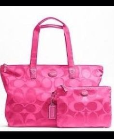 Save on the Coach Signature Tote Hot Pink Nylon/Leather Weekend/Travel Bag! This travel bag is a top 10 member favorite on Tradesy. Discount Coach Bags, Coach Bags Outlet, Cheap Coach Bags, Gucci Handbags, Coach Handbags, Purses And Handbags, Designer Handbags, Designer Bags, Fashion Handbags