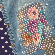 Japanese Embroidery Designs Modern Sashiko – KHG Arts - Working in the style of Japanese Boro mending with upcycled patches, I created a large visible mend that becomes the focal point of this thrifted denim shirt, thereby highlighting its age, worn nat… Sashiko Embroidery, Japanese Embroidery, Ribbon Embroidery, Embroidery Stitches, Embroidery Scissors, Simple Embroidery, Embroidery Designs, Hand Embroidery Patterns, Sewing Patterns
