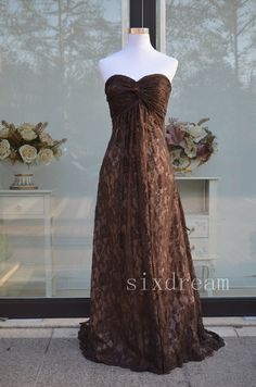 Brown/chocolate lace floor length sweetheart by sixdream on Etsy