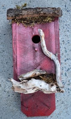 Red Rustic Birdhouse Country Birdhouses by BirdhousesByMichele, $60.00