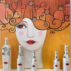 #arte #art #pintura #painting #diseño #design #botella #bottle #deco #decoracion #decoration #karinachavinespaciodearte #santelmo #ciudaddebuenosaires #argentina
