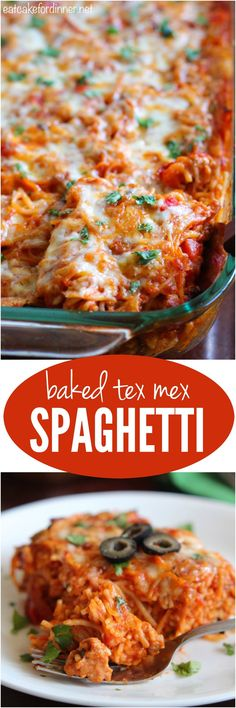 This Baked Tex Mex Spaghetti is comfort food at its finest and will become an instant family favorite!!