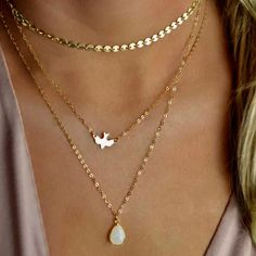 Tri-Layer Gold Necklace Tiny Dove And Tear Opal