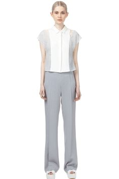 Stretch High Waist Trousers with Flared Leg