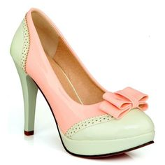 Cute Bow and Color Matching Design Women's Pumps.  See similar outfits at http://topreviews.momsmags.net