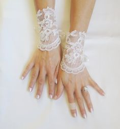 French Lace  ivory cuff free shipping wedding by GlovesByJana, $25.00