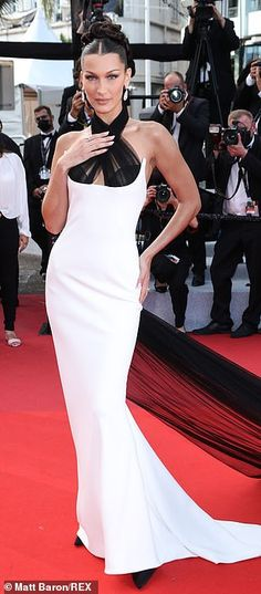 Bella Hadid Style, White Gowns, Cannes Film Festival, Evening Gowns, Dress Up, Glamour, Mail Online, Daily Mail, Monochrome
