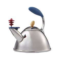 Michael Graves Spinner Whistling Tea Kettle available at Target for about $30 to $49.  Of course, you can always pay $180- for his Alessi kettle with Bird whistle, but if anyone in your house has ever left the room long enough to burn the kettle, I wouldn't put the money into it.  This one is just dandy.