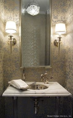 The console sink is a popular style for powder rooms. Home Design Decor, Bathroom Interior Design, House Design, Home Decor, Villa Design, Design Art, Powder Room Wallpaper, Bathroom Wallpaper, Print Wallpaper