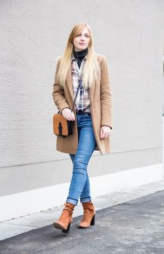 camel coat, ripped jeans & high heel suede ankle boots