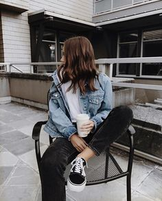 Fall 2017 Style and Outfit Ideas for School and Every day vans denim jacket