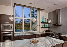 Modern Gray Toned Kitchen Accented By Stylish Pella Architect Series Windows .