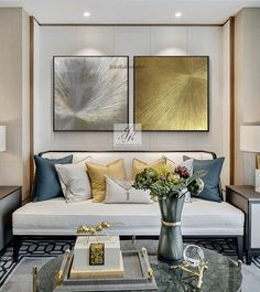 Large Abstract Acrylic Paintings, Large Wall Art, Set of Gold Leaf Art ,Original Painting ,Abstract Paintings On Canvas by Julia Kotenko by JuliaKotenkoArt on Etsy Textured Wall Art, Decor, Living Room Color Schemes, Decorating Your Home, Elegant Living Room, Living Room Decor, House Interior, Room Decor, Gold Living Room