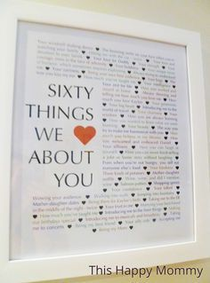 60 Things We {Love} About You — The perfect homemade gift for a milestone birt. 60 Things We {Love} About You — The perfect homemade gift for a milestone birt… 60 Things We {Love} About You — The perfect homemade gift for a milestone birthday. 60th Birthday Ideas For Dad, 70th Birthday Parties, Birthday Cards, 60th Birthday Ideas For Mom Party, Birthday Surprise Ideas, Mum Birthday Gift, Birthday Surprises, Brother Birthday, Diy Birthday Presents For Dad