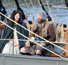 Claire and Murtaugh...showing some knee...Troon, Scotland outtakes. Via Outlander Italy.