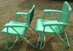 Retro Metal Patio Furniture | Vintage Pair Folding Chairs Metal Mid Century  Lawn/Patio/