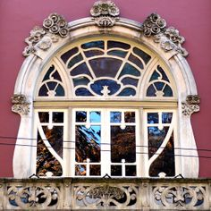 Art Nouveau window, Coimbra, Centro, Portugal.