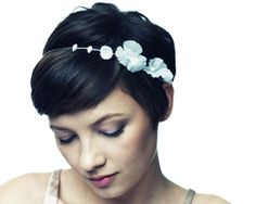 by Jennifer Behr :: handmade silk flowers :: bridal :: wedding :: bride :: headpiece :: headband :: updo